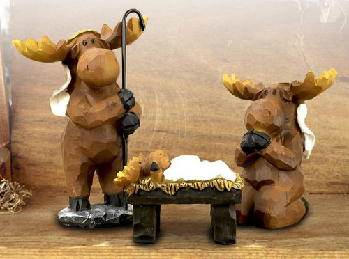 Moose 3 Piece Nativity Set