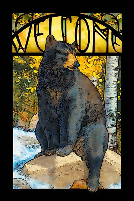 Black Bear Stained Glass Art