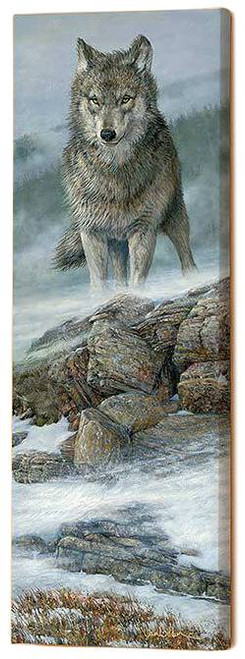 Gray wolf wrapped canvas art with wolf standing on ridge