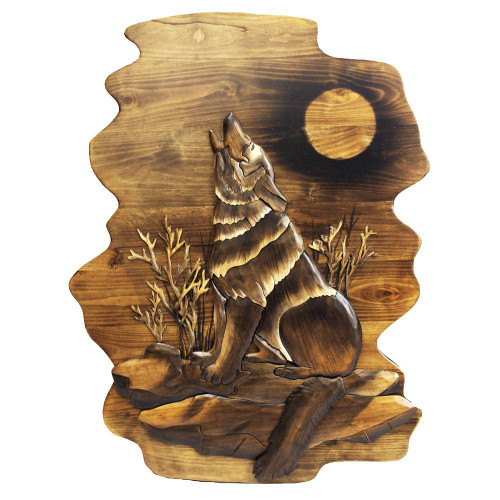 Three wolves howling carved sculpture