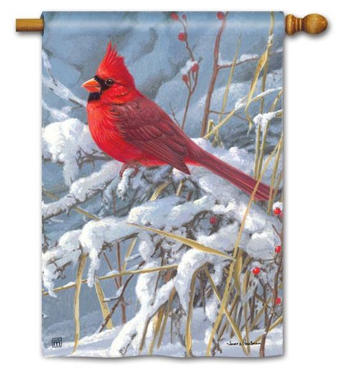 Cardinal in Snow Standard Flag