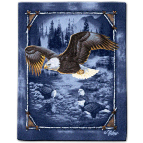 """""""Land of the Eagle"""" Luxury Queen Heavy Plush Blanket"""
