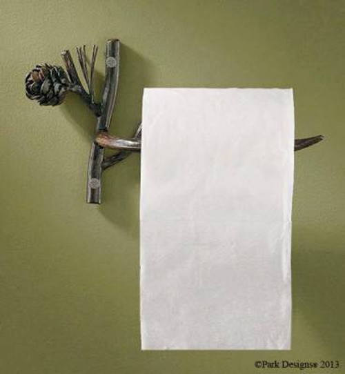 Pine Lodge Toilet Paper Holder on wall with toilet paper