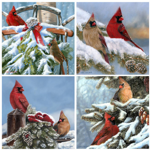 Cardinals in Snow Coasters Set of Four