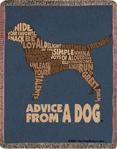 Front of Advice from a Dog Woven Blanket