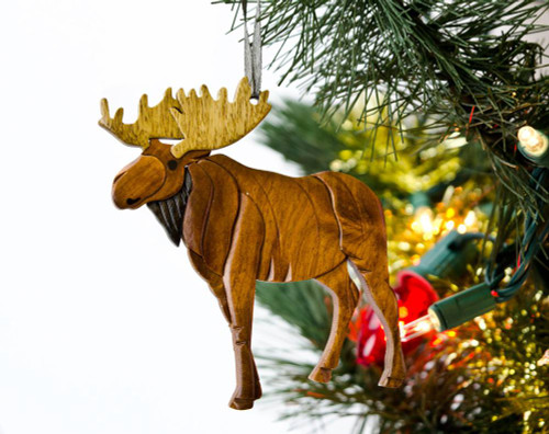 Standing Moose Wooden Ornament