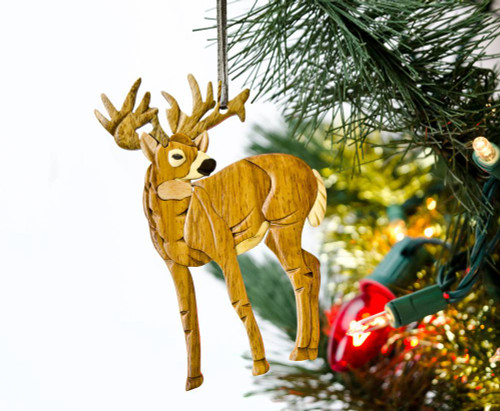 Standing Deer Wooden Ornament
