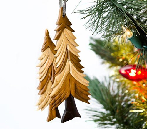 Pine Trees Wooden Ornament