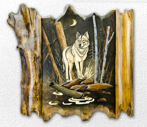 Wolf by Lake Hand-Carved Wooden Wallhanging