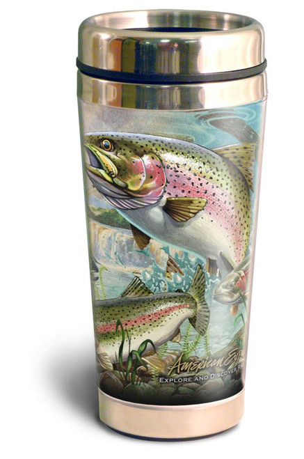 Rainbow Trout Collage Series 16oz Travel Mug