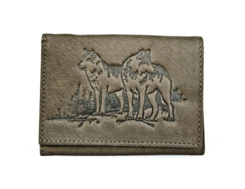 Wolves Debossed Brown Leather Trifold Wallet