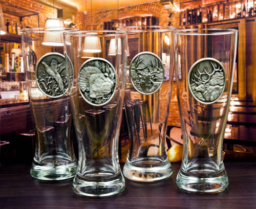 Pewter Emblem Pilsner Glass Set (Choose 4)