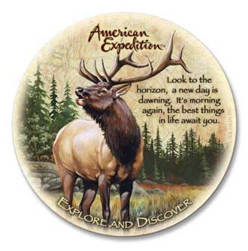 Single Elk Wildlife Stone Coaster
