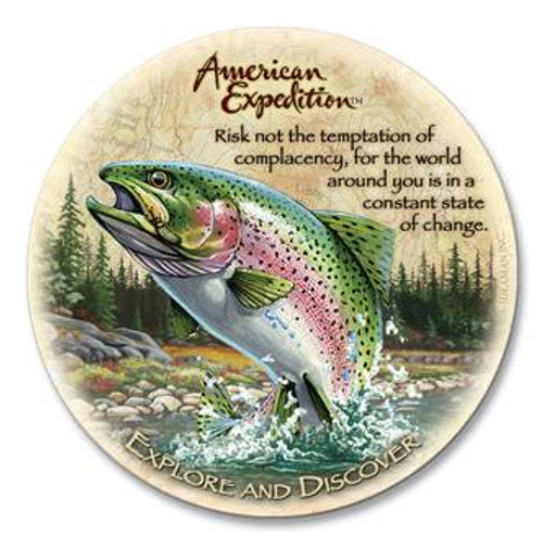 Single Rainbow Trout Wildlife Stone Coaster