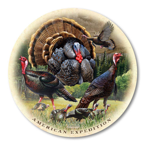 Single Wild Turkey Collage Stone Coaster