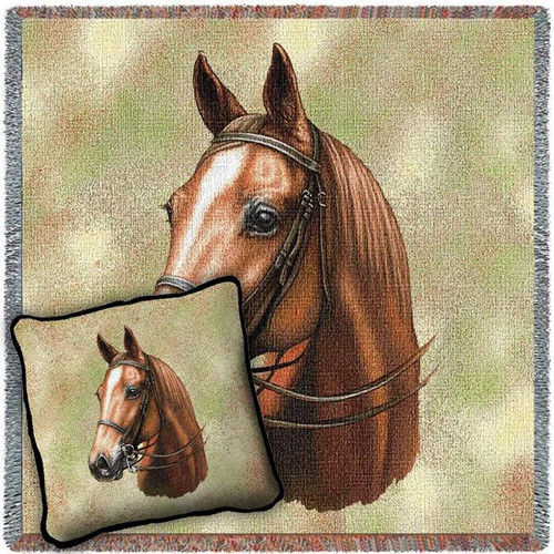 American Saddle Horse Woven Blanket and Pillow Set
