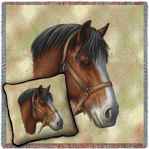 Clydesdale Horse Woven Blanket and Pillow Set