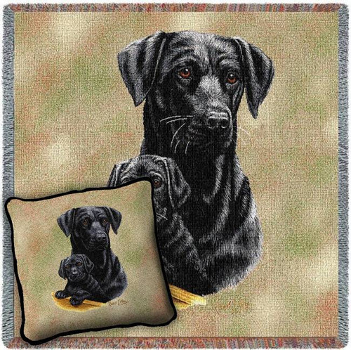 Black Lab and Puppy Blanket and Pillow Set