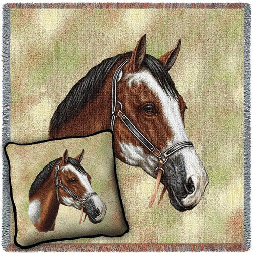 Paint Horse Woven Blanket and Pillow Set
