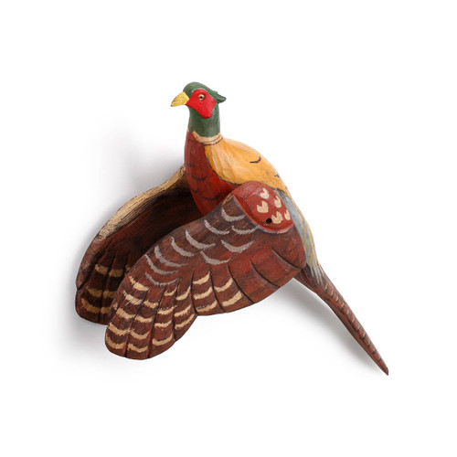Flying Pheasant Wooden Carved Wall Art