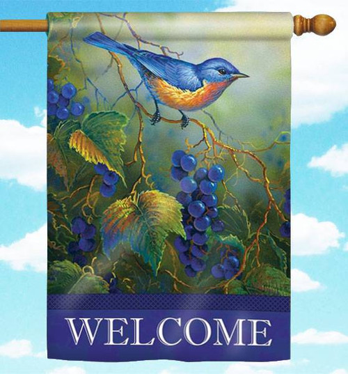 "Vineyard Bluebird 30"" x 44"" Welcome Flag"