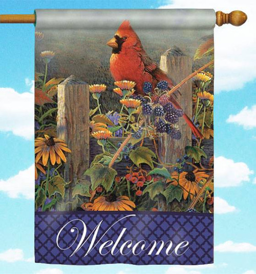 "Wildflowers and Cardinal 30"" x 44"" Welcome Flag"