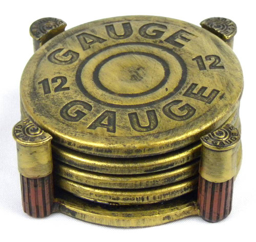 12-Gauge Shotgun Shell Coaster Set with Holder