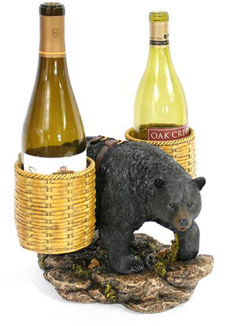 Bear Carrying Basket Wine Holder