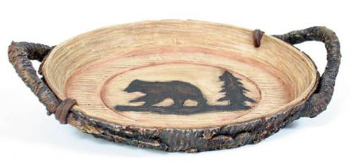 Bear and Tree Bark Sculpted Tray