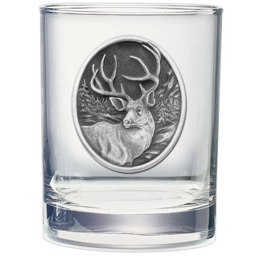 Mule Deer Double Old Fashioned Glass w/ Pewter Emblem