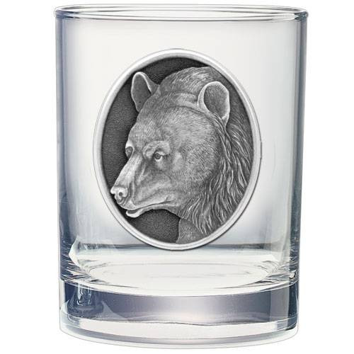 Black Bear Double Old Fashioned Glass w/ Pewter Emblem