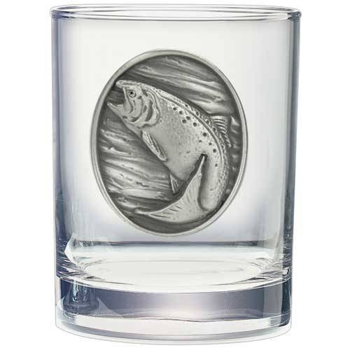 Rainbow Trout Double Old Fashioned Glass w/ Pewter Emblem