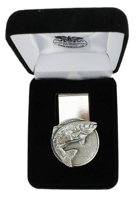 Trout Pewter Money Clip - Circular