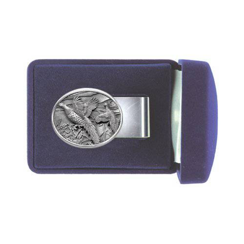 Pheasant Pewter Money Clip - Oval