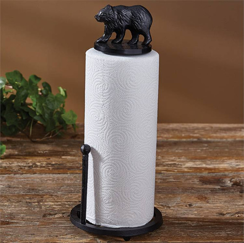 Cast Black Bear Paper Towel Holder
