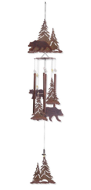 "Black Bear in the Pines 36"" Wind Chimes"