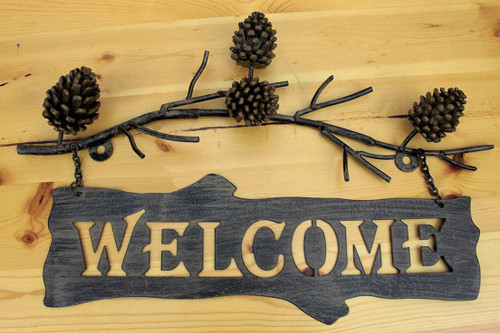 Pine Cone Welcome Sign