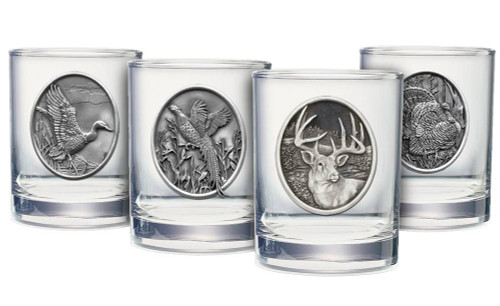 Pewter Emblem Double Old Fashioned Glass Set (Choose 4)