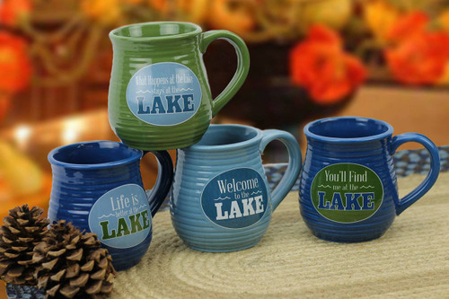 Ceramic Ribbed Lake Mug Set (set of four)