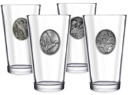 Pewter Emblem Pint Glass Set (Choose 4)