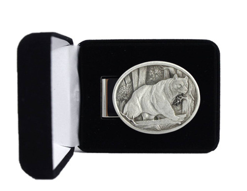 Black Bear Pewter Money Clip - Oval