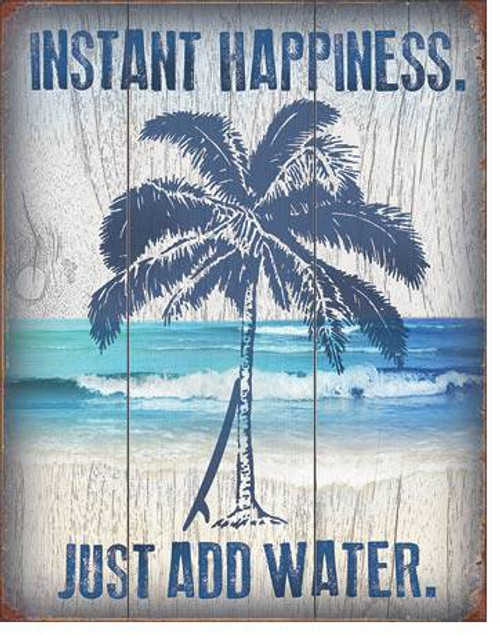 Instant Happiness Palm Tree Tin Sign