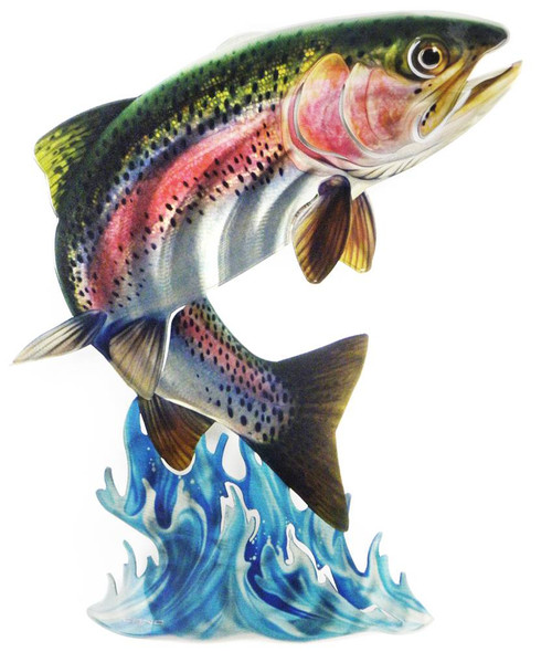 Leaping Rainbow Trout 3D Steel Reflective Wall Art