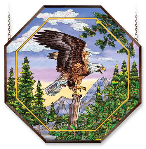 """Screaming Eagle 22"""" Octagon Stained Glass Suncatcher"""