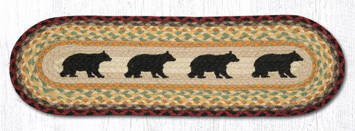 Cabin Bears Oval Table Runner