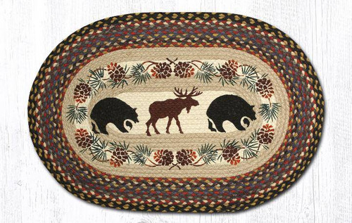 Moose And Pinecone Oval Braided Rug