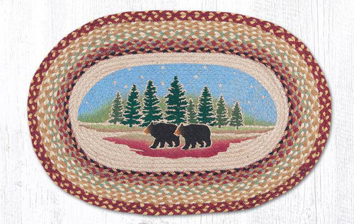 Wilderness Bears Oval Braided Rug
