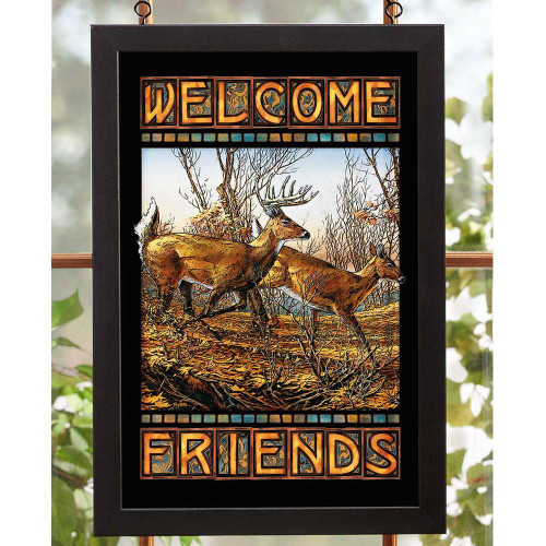 Welcome Friends Deer Stained Glass Art