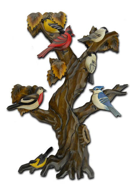 Birds Hand-Carved Wooden Wallhanging
