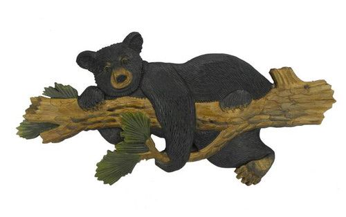 Bear Hanging on Tree Hand-Carved Wooden Wallhanging